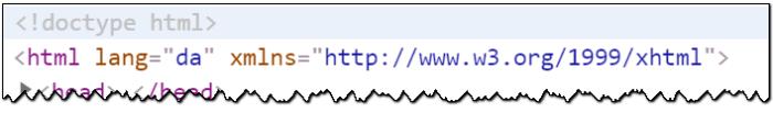 Kildekoden til en webside, hvor sidens sprog er angivet til dansk
