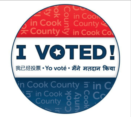 Cook County I voted sticker from 2016