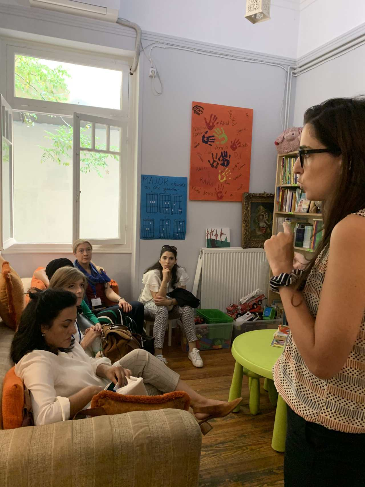 Learning about grassroots projects with Network member, Marina Liakis, in her NGO, The Orange House, in Athens, Greece