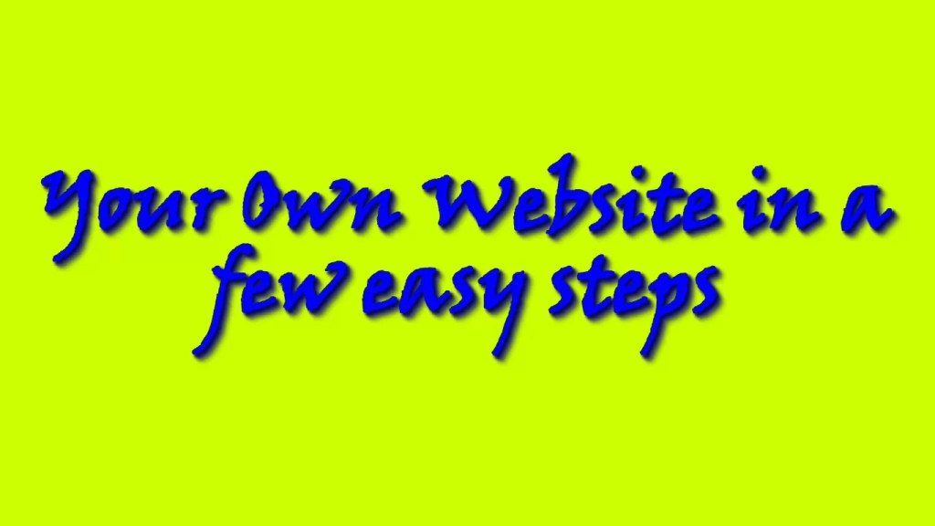 Here is how you can create a website.