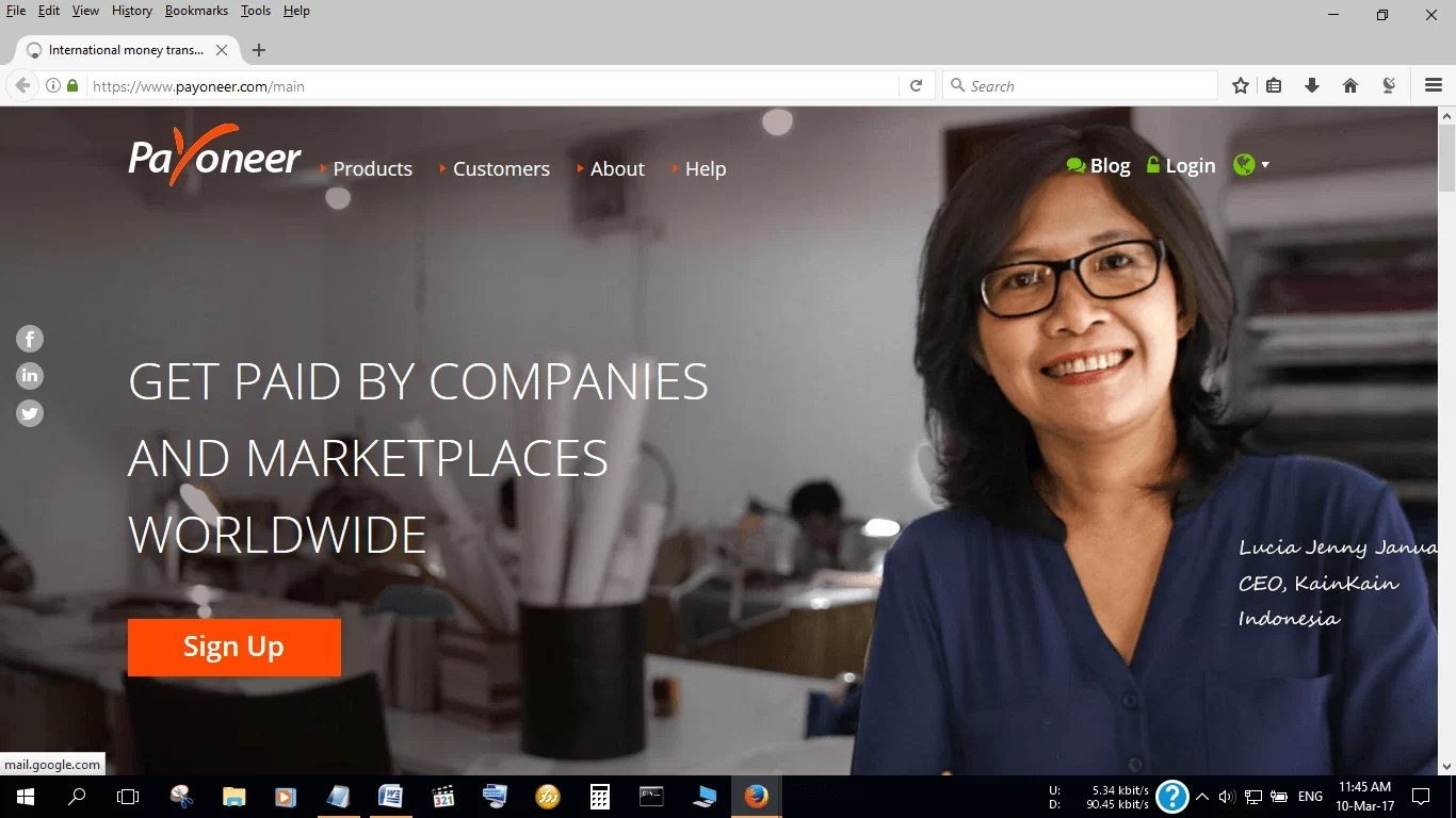 Get paid for online work through Payoneer