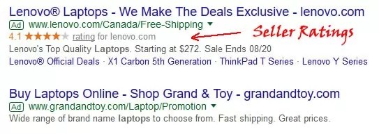 Seller Ratings can help boost your adwords ctr
