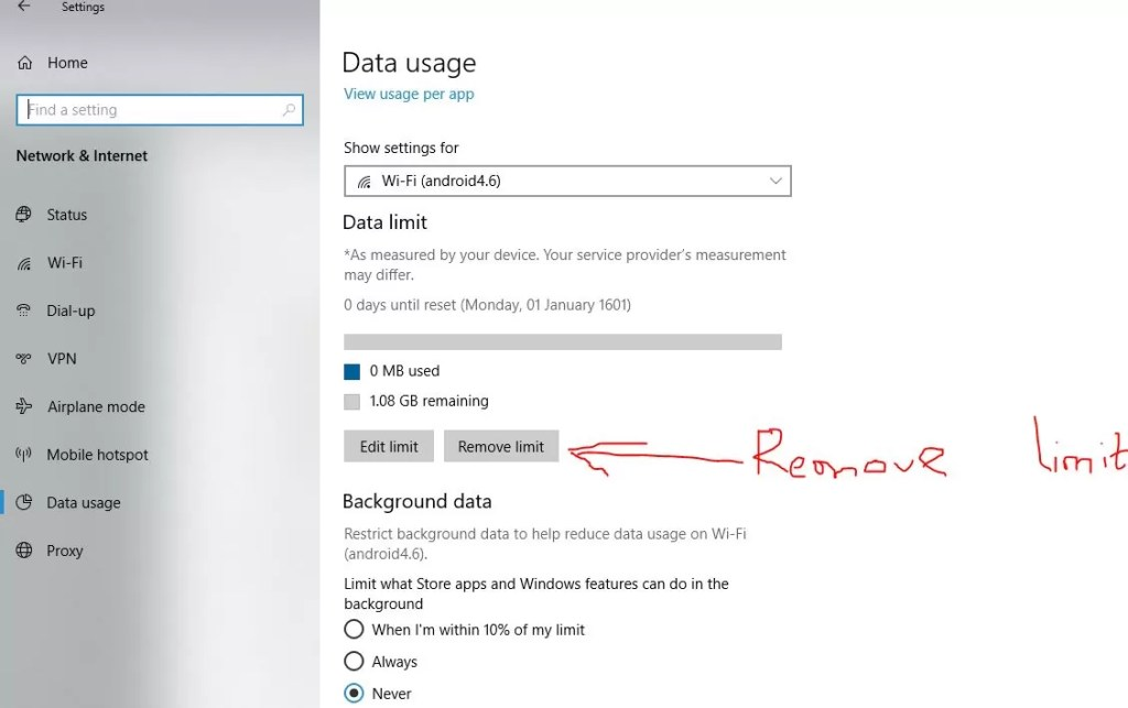 remove data limit to solve the metered connection greyed out issue
