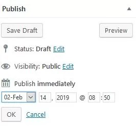 postpone publication of your article in WordPress