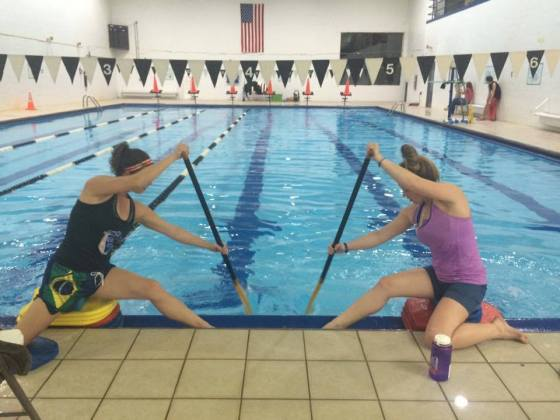 Sweets training in pool