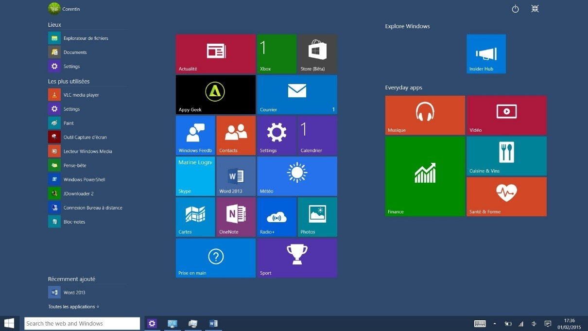Les 7 principales nouveaut s de windows 10 for Ouvrir fenetre plein ecran windows 7