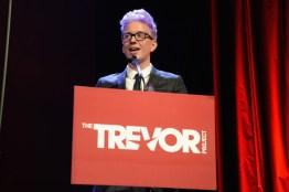 Tyler making a speech at a Trevor Project evening.