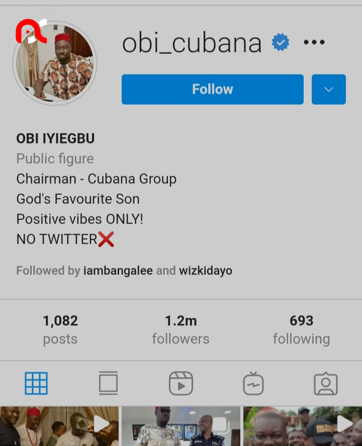 """""""When you have money, people will follow you"""" – Reactions as Obi Cubana hits 1.2million followers on Instagram in less than a week"""