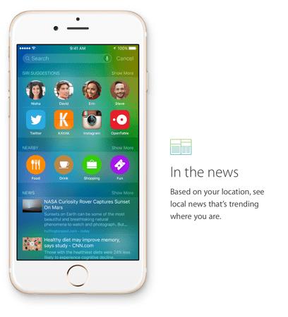 Apple News App - Teil der iPhone Suche