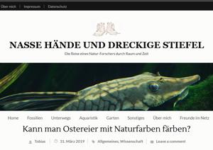 """Screenshot der Webseite """"Nasse Hände und dreckige Stiefel"""""""