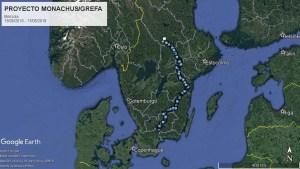 Karte von Südschweden mit dem Weg des Mönchsgeiers Brinzola nach Norden