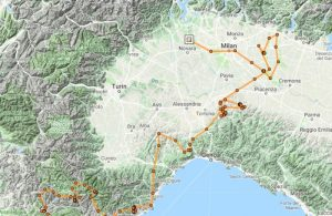 Landkarte Norditaliens mit dem Weg, den Geier Farigoule zurückgelegt hat.