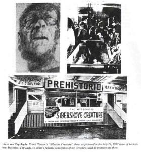 Zusammenstellung von Bildern, die den Original Minnesota-Iceman zeigen, die Sideshow-Bude und das Medieninteresse