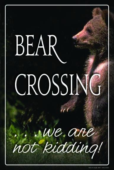 digital sign bear crossing