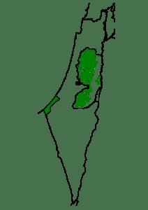 Die palästinensischen Autonomiegebiete (grün), wie sie im Oslo-Abkommen vereinbart