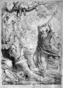 Bonifatius fällt die Donareiche. Bernhard Rode, 1781.