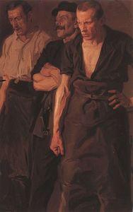 Streik, Gemälde von Stanislaw Lentz, 1910.