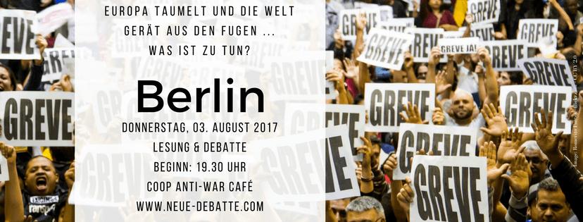 Lesung und Debatte in Berlin: Europa taumelt – Was ist zu tun?