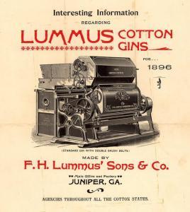 Werbung von 1896 der Firma F.H. Lummus Sons und Co. für eine Cotton Gin. (Foto: Gemeinfrei)