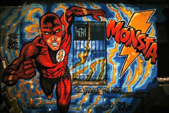 Superheld an der East Side Gallery. (Foto: Peter Dargatz, Pixabay.com; Creative Commons CC0)