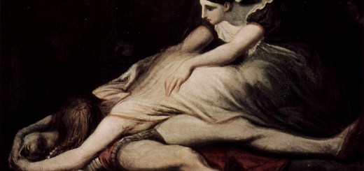 Kriemhild wirft sich auf den toten Siegfried. Gemälde von Johann Heinrich Füssli 1817. (Foto: Wikipedia/Gemeinfrei)