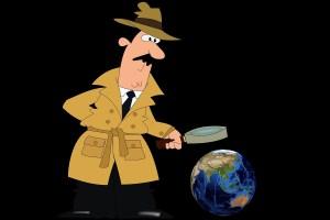 Detektiv schaut sich den Globus an. (Illustration: Mari Ana Pixabay.com Creative Commons CC0)