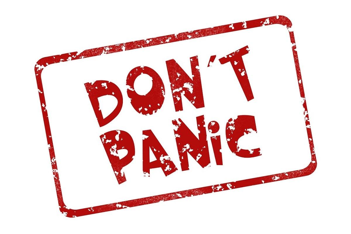 Stempel Don't panic. (Illustration: Geralt, Pixabay.com;Creative Commons CC0)