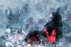 Nachdenkliche Frau in Rot. (Illustration: JL G, Pixabay.com, Creative Commons CC0)