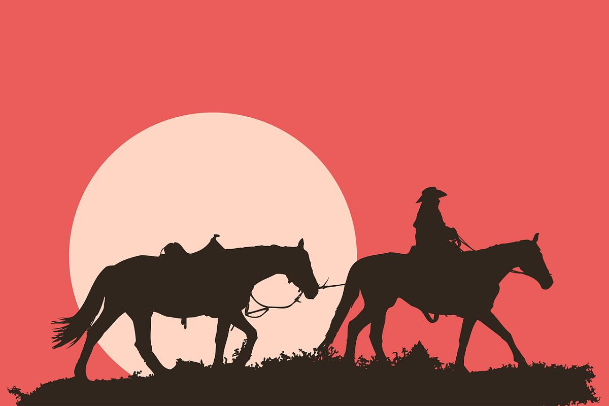 Im Italowestern reitet der Tod mit. Ein Mann und zwei Pferde im Sonnenuntergang. (Illustration: Devanath, Pixabay.com)