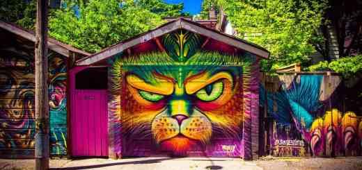 Lässt ein politisches Duo die Gesichtszüge entgleisen? Graffiti an einem Garagentor. (Foto: Darius Bashar, Unsplash.com)