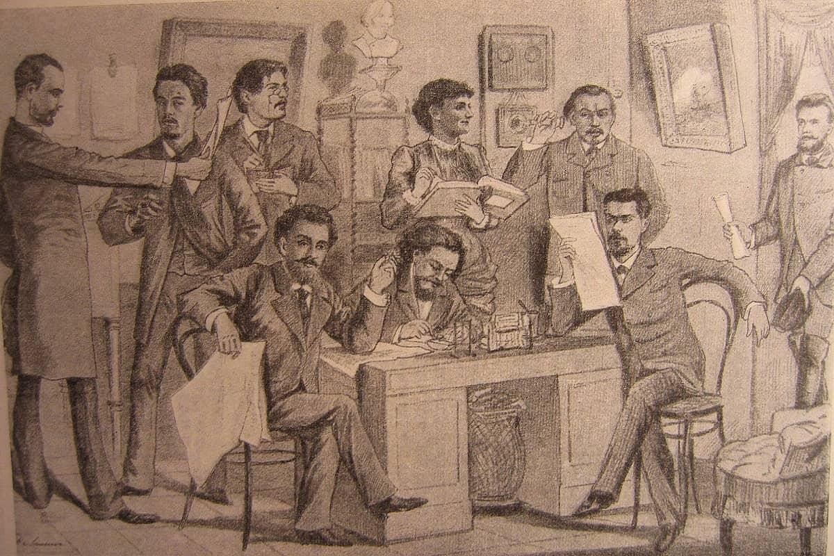 Eine Redaktionssitzung des Budilnik. Anton Tschechow ist als zweiter von links zu sehen. (Foto: Eine Zeichnung aus dem Jahr 1885.)