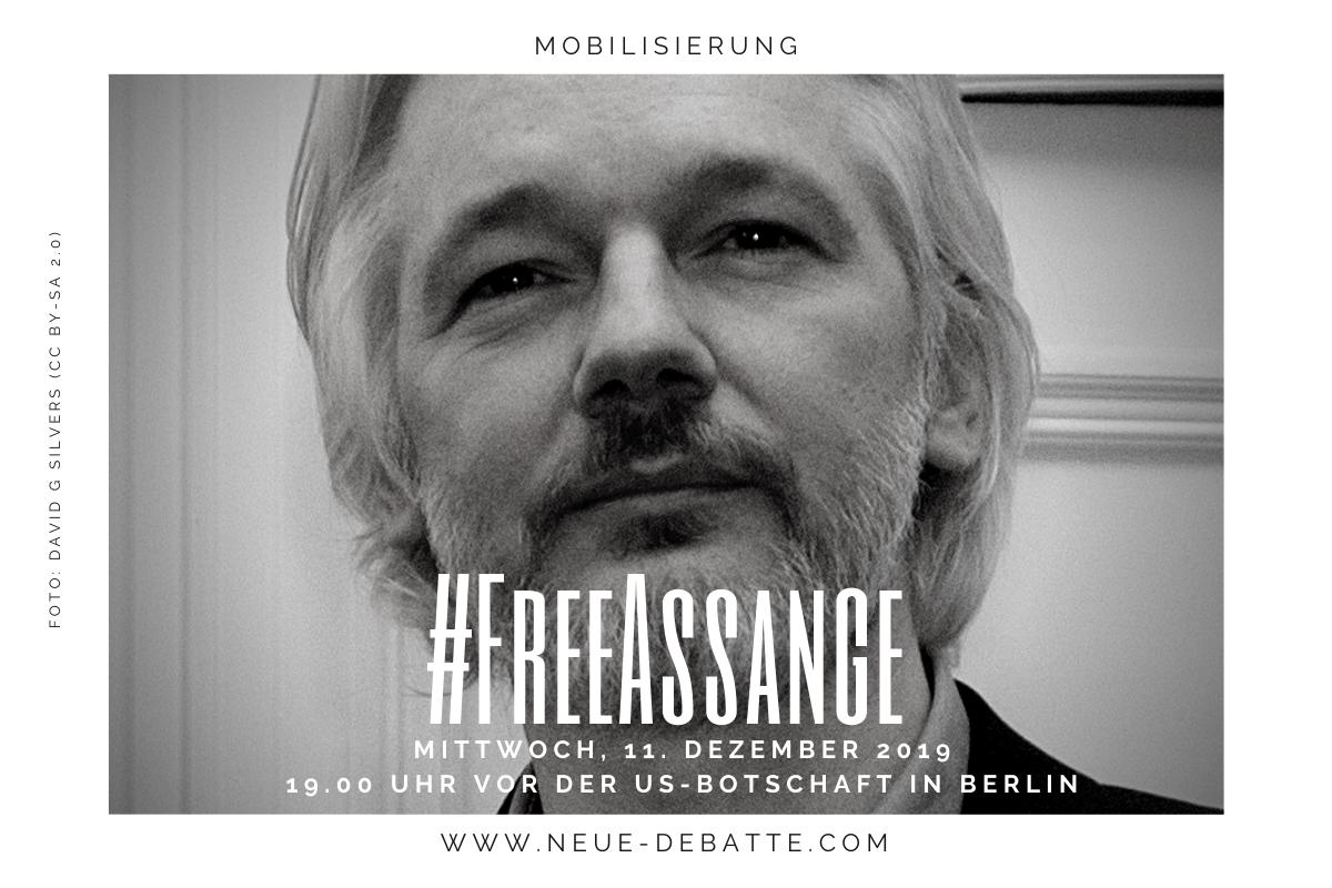 Solidarität mit Julian Assange; Termin 11.12.2019 Berlin. (Illustration: Neue Debatte)