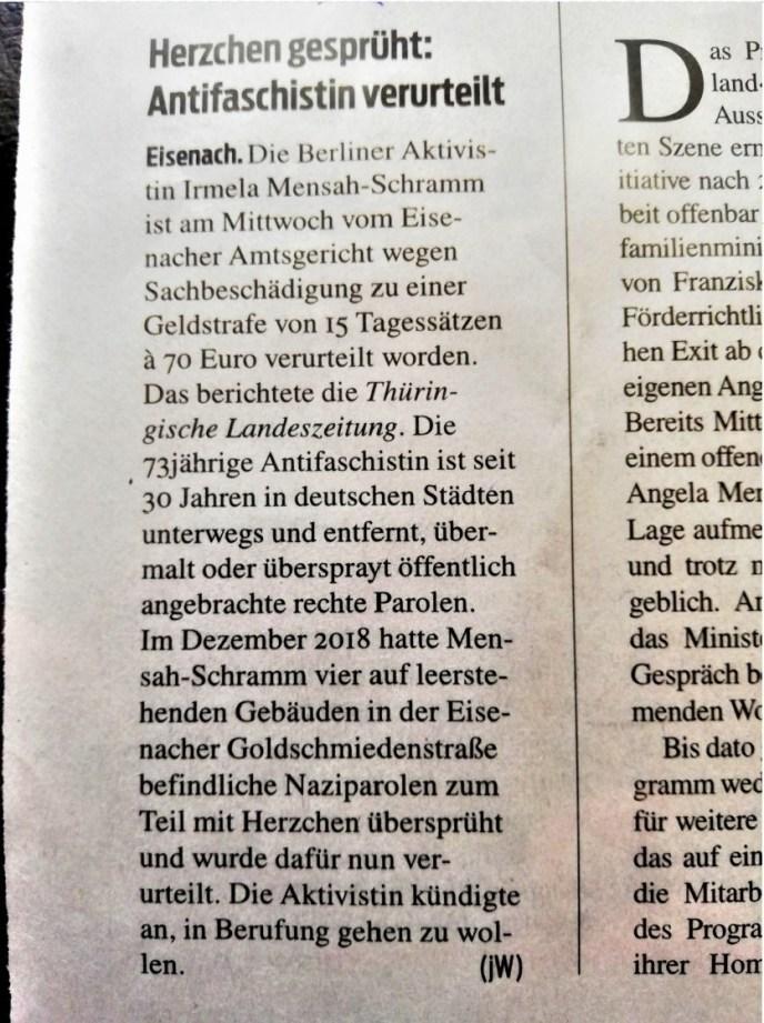junge welt vom Oktober 2019. Irmela Mensah-Schramm, Nazi-Parolen übersprüht, wegen Sachbeschädigung verurteilt . (Foto: Klaus-Jürgen Bruder)
