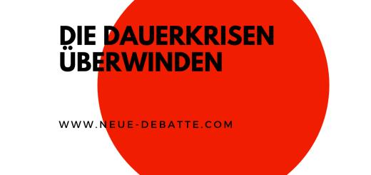 Daniela Platsch von Wandel im Gespräch mit Gunther Sosna über die Dauerkrisen in der EU und radikale Lösungen. (Illustration: Neue Debatte)