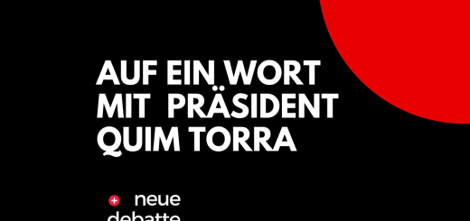 Quim Torra, Präsident von Katalonien, äußert sich zur Situation der Wirtschaft in der Krise. (Illustration: Neue Debatte)