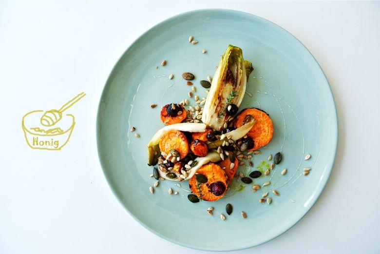 foodblog, TCM Rezepte, fit essen, Chicorée aus dem Rohr mit Beeren, Gemüse Rezept, Beeren, Süßkartoffel