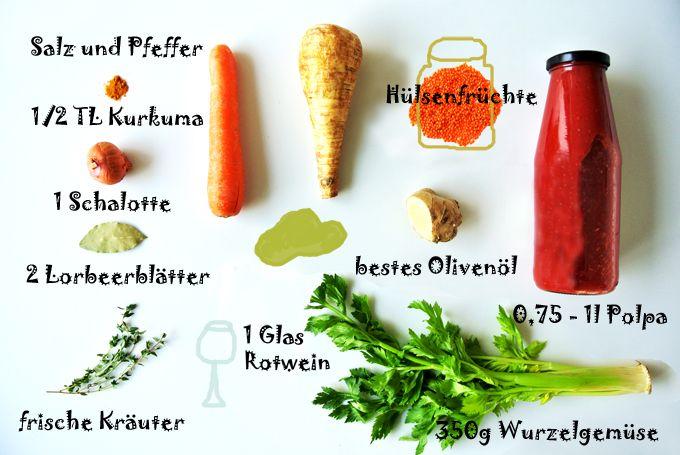 Tomatensauce mit Linsen, eine Sauce - viele Möglichkeiten, Eiweiß ohne Fleisch