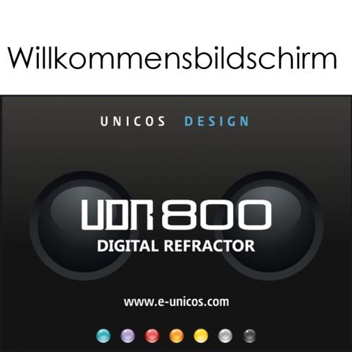 Digitaler Phoropter Unicos UDR-800 Willkommensbildschirm