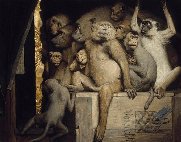 <em>Gabriel von Max, 1840-1915 Affen als Kunstkritiker, 1889