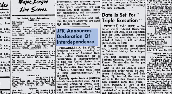 JFK announces Decalaration of Interdependence