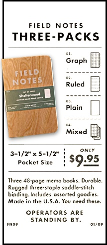 Field Notes Dreierpack €12.30