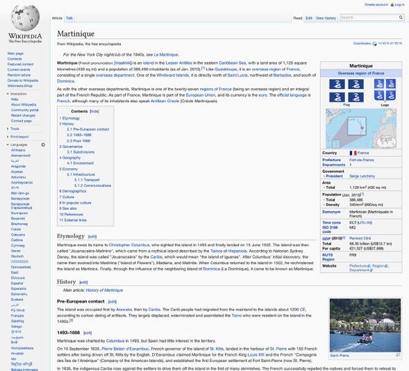 wikipedia Gestaltung am Beispiel Martinique.