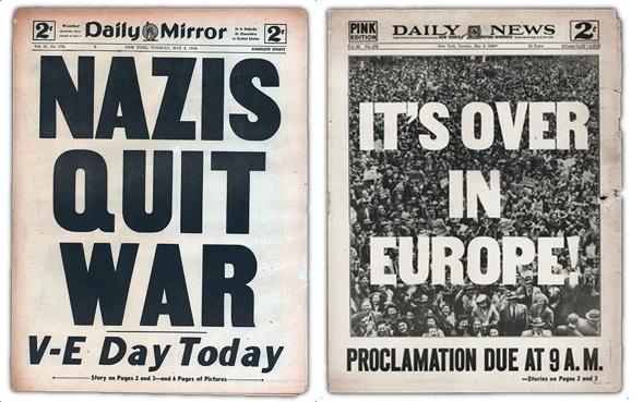 Nazis quit war. It's over in Europe.