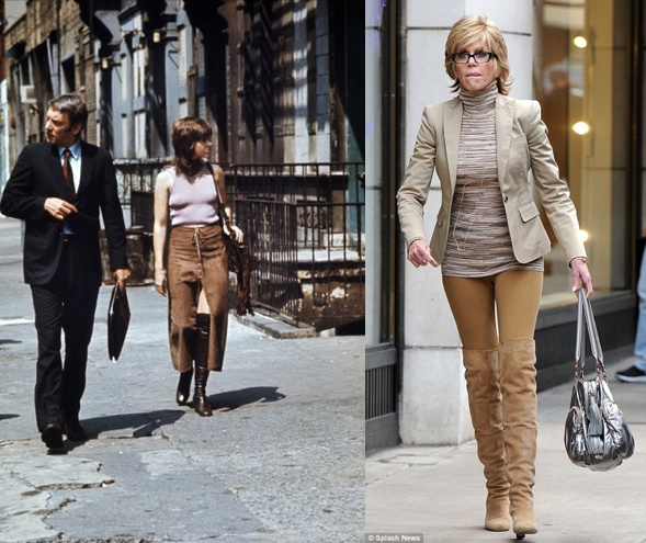 Donald Sutherland and Jane Fonda in 1971 paranoia trilogy Klute and Jane Fonda at 73 in the streets of New York City.