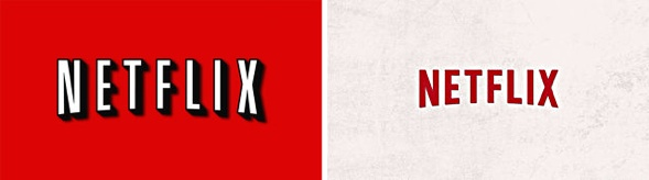 Netflix logo before and after.