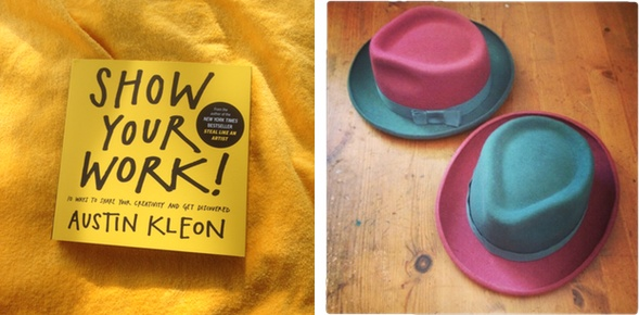 Austin Kleon handy book next to Dido Victoria's hat show. (c)Dido Victoria Millinery