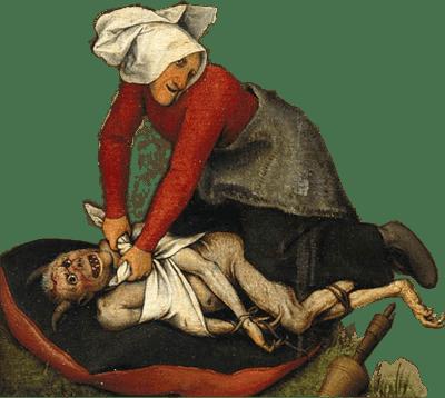 Detail aus Pieter Bruegels Gemälde. Den Teufel aufs Kissen binden.