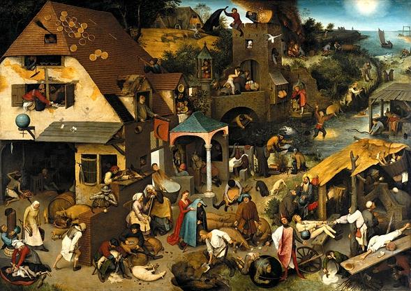 Die niederländischen Sprichwörter, 1559 von Pieter Bruegel der Ältere.