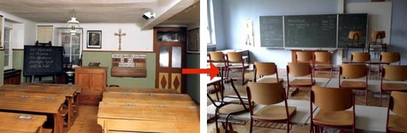 Klassenzimmer 1950 u. 2008
