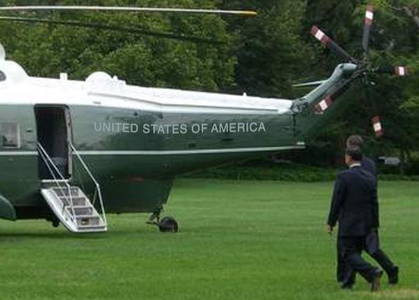 Hubschrauber des US Präsidenten -  mit moderner Sans-Serifenschrift